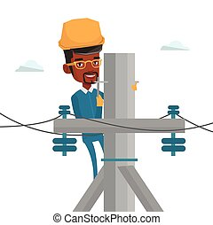 Electrician working on electric power pole. - African...