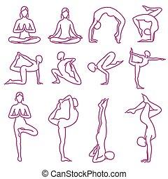 Yoga poses vector silhouettes, pilates fitness female exercises set