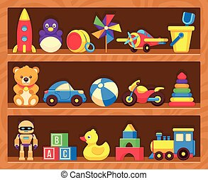 Kids toys on wood shop shelves. Toys in shelf robot and...