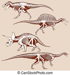 Gigantic dinosaurus silhouettes with skeletons vector set....