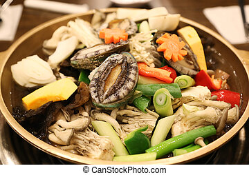 Abalone hot pot called the nobility of the sea with...