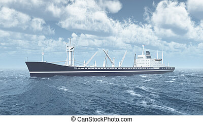 Cargo ship in the stormy ocean - Computer generated 3D...
