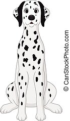 Cartoon dalmatian dog sitting - Vector illustration of...