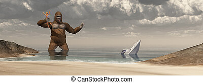 Huge gorilla, woman in his hand and sunken boat - Computer...