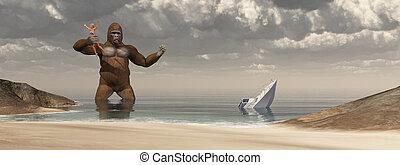 Huge gorilla, woman in his hand and sunken boat - Computer...
