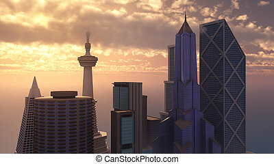 Skyscrapers - Computer generated 3D illustration with...