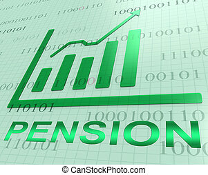 Pension Graph Increase Shows Retirement Money 3d Rendering -...