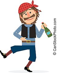 Pirate with bottle of rum - Pirate jolly dancing and holding...