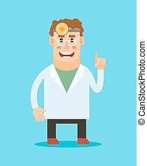 Dentist cartoon character. Stomatologist smiling icon on...