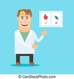 Dentist with healthy food poster - Dentist cartoon...