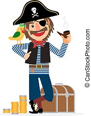 Smiling pirate character with parrot