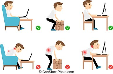 Man correct and incorrect postures - Man sitting, working...