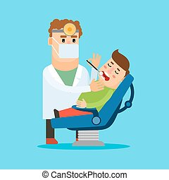 Dentist and patient - Dentist cartoon character....