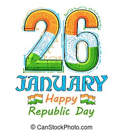 Floral tricolor background for 26th January Happy Republic...