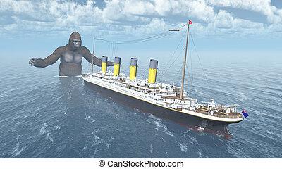 Huge gorilla and ocean liner - Computer generated 3D...