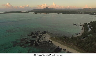 Blue lagoon and Mauritius coastline, aerial view - Aerial...
