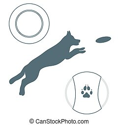 Silhouette of jumping dog and Frisbee. Label for pet shop....