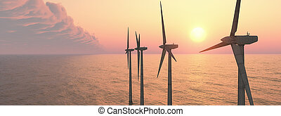 Offshore wind power - Computer generated 3D illustration...