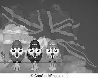 UK Armed Services - Monochrome members of United Kingdom...