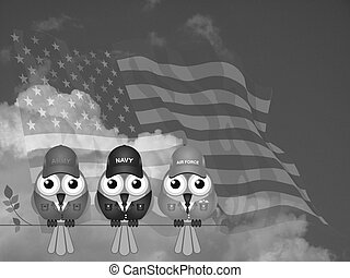 USA Armed Services - Monochrome members of United States of...