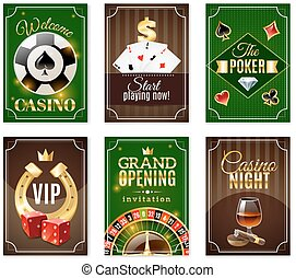 Casino Cards Mini Posters Banners Set - Casino cards back 6...