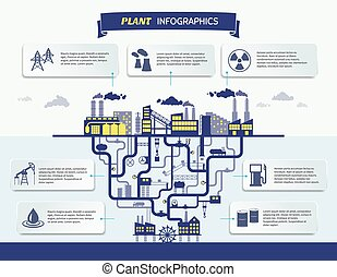 Plant infographics vector illustration with set design and...