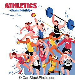 Colorful Sport Isometric Poster - Colorful sport isometric...