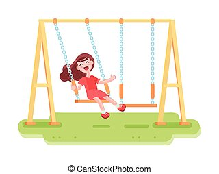 Swinging Kid Seesaw Composition - Composition with flat...