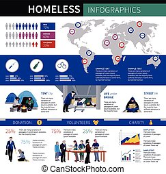 Homeless Infographics Layout - Homeless infographics with...