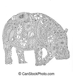 black and white drawing, seamless pattern, illustration -...