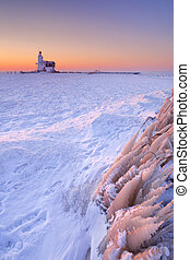 Lighthouse of Marken, The Netherlands at sunrise in winter