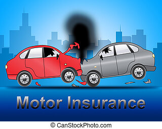 Motor Insurance Shows Car Policy 3d Illustration - Motor...