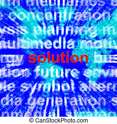 Solution Word Showing Success Acheivement 3d Rendering -...