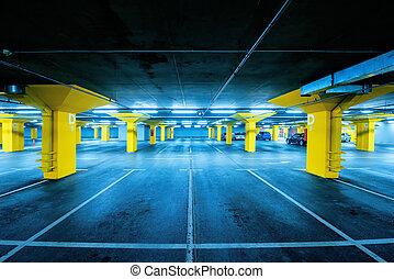 車庫, 汽車, 極少, 空間, 簽, 停車處, 地鐵, 空