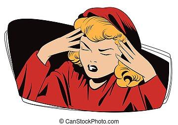 Upset woman grabbed hands behind her head.