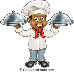 Black Chef Cartoon Character - Cartoon black chef or baker...