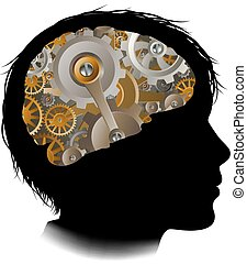 Child Machine Workings Gears Cogs Brain - Silhouette of a...