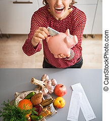 Happy young housewife putting money into piggy bank after...