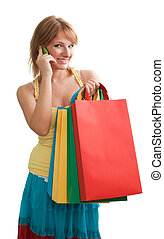 Happy blonde customer chattering - Woman with mobile talking...