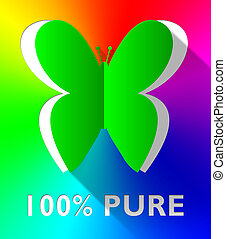 Hundred Percent Pure Butterfly Shows Healthful 3d Illustration