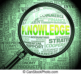 Knowledge Magnifier Indicates Searching Wisdom 3d Rendering...