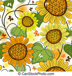 Repeating floral white summer pattern with sunflowers and...