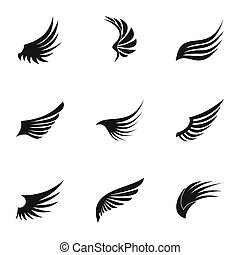Wings of bird icons set, simple style