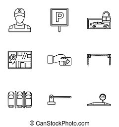 Valet parking icons set, outline style - Valet parking icons...