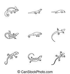 Iguana icons set, outline style - Iguana icons set. Outline...