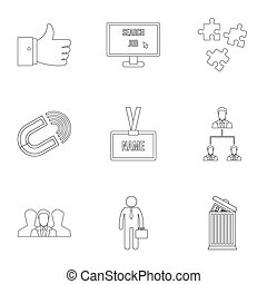 Employee icons set, outline style - Employee icons set....