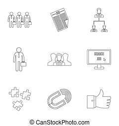 Job search icons set, outline style - Job search icons set....