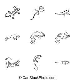 Types of iguana icons set, outline style - Types of iguana...
