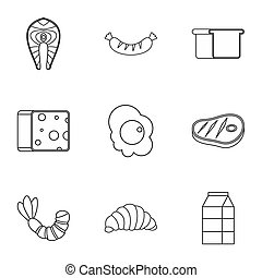 Morning meal icons set, outline style - Morning meal icons...