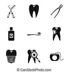 Stomatology icons set, simple style - Stomatology icons set....
